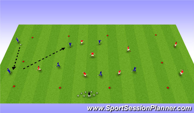 Football/Soccer Session Plan Drill (Colour): End to end Possession