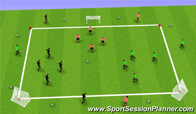 Football/Soccer Session Plan Drill (Colour): SSG 4v4v4