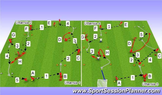 Football/Soccer Session Plan Drill (Colour): Upphitun/Tækniþjálfun: