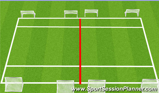 Football/Soccer Session Plan Drill (Colour): 4v4 to Two Wide Goal Arrival Game