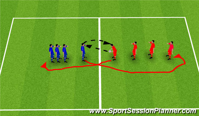 Football/Soccer Session Plan Drill (Colour): Drill - Controlled Heading while on the move