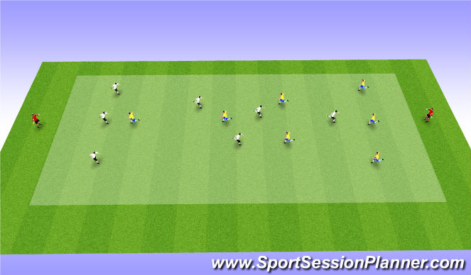 Football/Soccer Session Plan Drill (Colour): 7 v 7 to targets