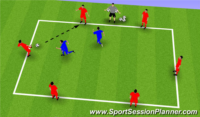 Football/Soccer Session Plan Drill (Colour): 6v2