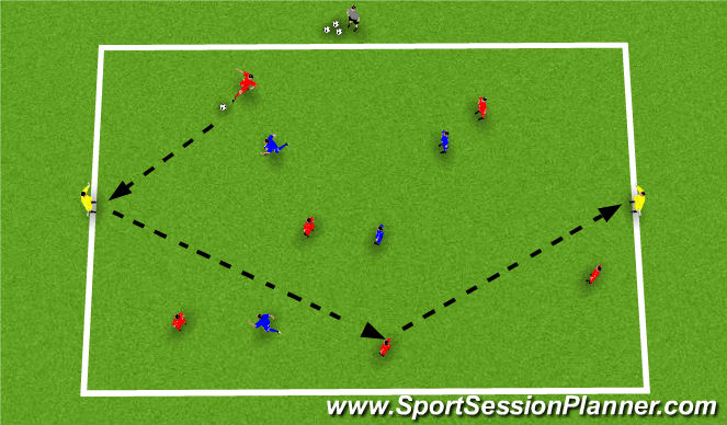 Football/Soccer Session Plan Drill (Colour): 6v4 +2