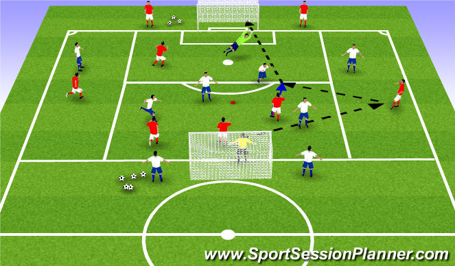 Football/Soccer Session Plan Drill (Colour): 4+4 v 4 +4 ESSG