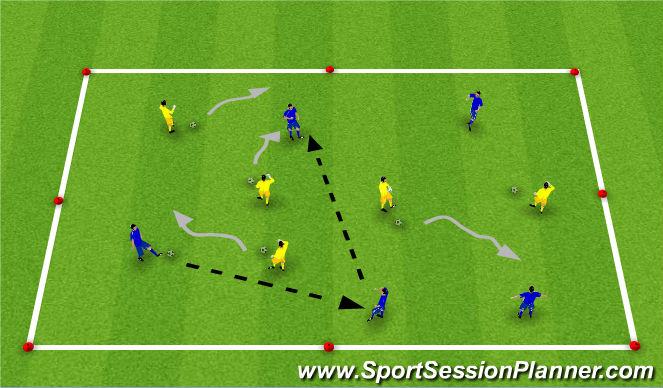 Football/Soccer Session Plan Drill (Colour): Dribbling/Passing