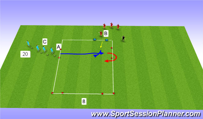 Football/Soccer Session Plan Drill (Colour): 1 v 1 duel