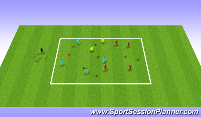 Football/Soccer Session Plan Drill (Colour): 4 v 4 + 2 ssa