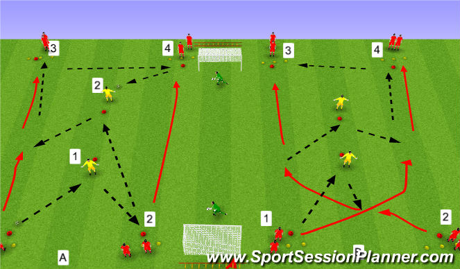 Football/Soccer Session Plan Drill (Colour): Upphitun / Tækni 1: