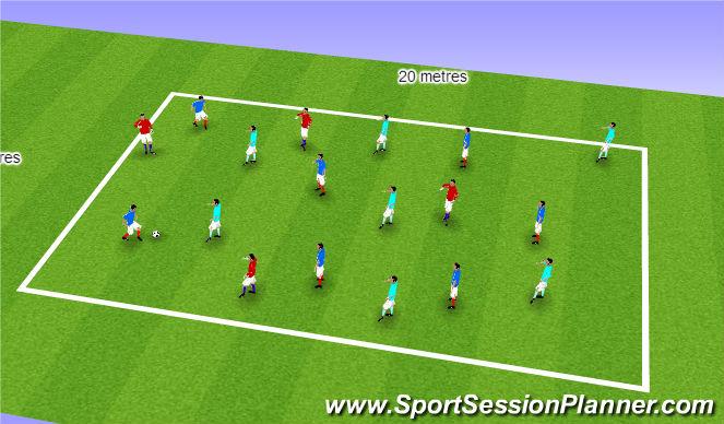 Football/Soccer Session Plan Drill (Colour): Step 4: 4v4v4 (8v4)