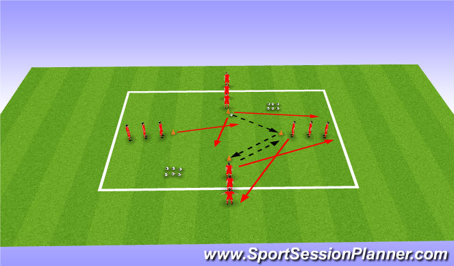 Football/Soccer Session Plan Drill (Colour): Passing Practice - Progression 2