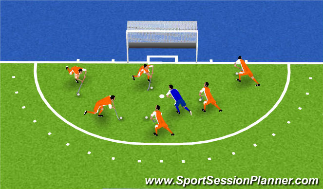 Hockey Session Plan Drill (Colour): warm up jagers&prooien