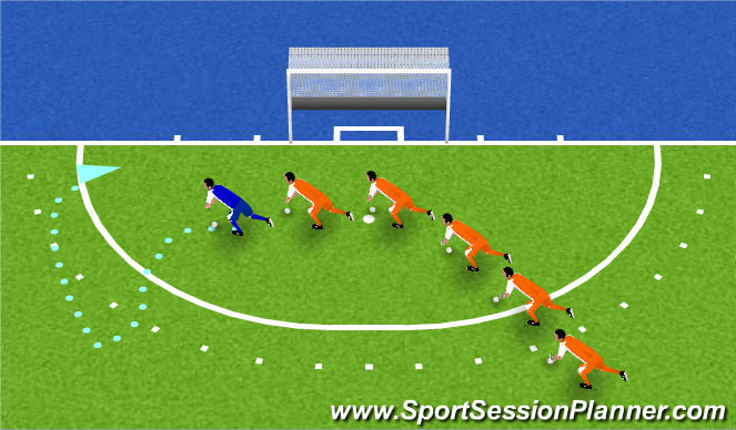 Hockey Session Plan Drill (Colour): slangenspel: volg de trainer
