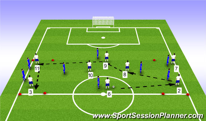 Football/Soccer Session Plan Drill (Colour): SSG - 4v4+4