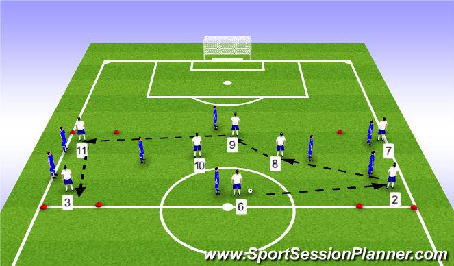 Football/Soccer Session Plan Drill (Colour): SSG - 4v4+4