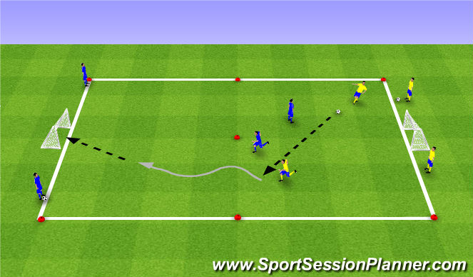 Football/Soccer Session Plan Drill (Colour): 2v2 Santa Claras
