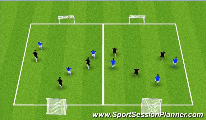 Football/Soccer Session Plan Drill (Colour): 3v3 Arrival Game