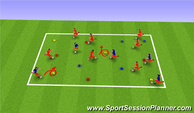 Football/Soccer Session Plan Drill (Colour): Warm up cone dribble