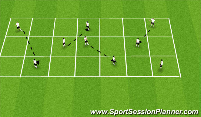 Football/Soccer Session Plan Drill (Colour): Spreading out to maintain & exploit space