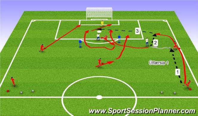 Football/Soccer Session Plan Drill (Colour): Leið 1