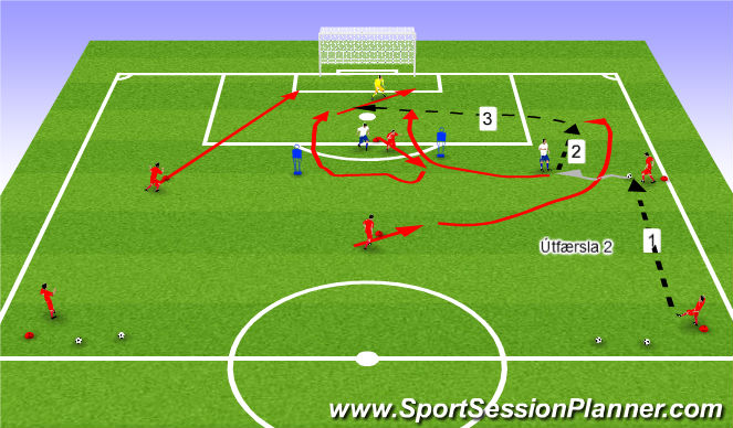 Football/Soccer Session Plan Drill (Colour): Leið 2