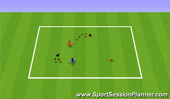 Football/Soccer Session Plan Drill (Colour): Running With The Ball 1