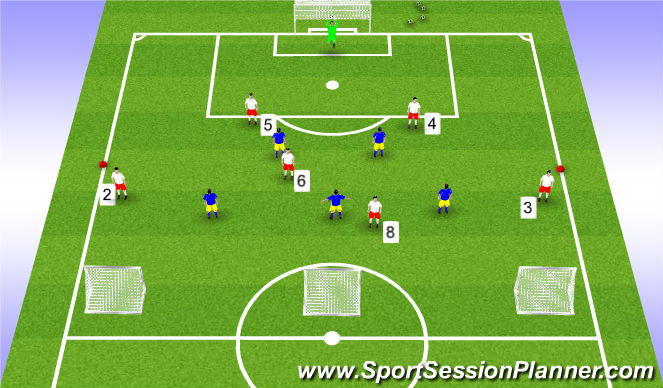 Football/Soccer Session Plan Drill (Colour): SSG - 7 v 5