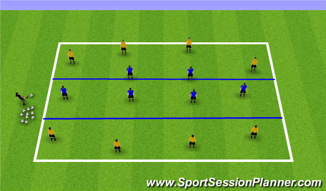 Football/Soccer Session Plan Drill (Colour): Zonal Defending 8v6