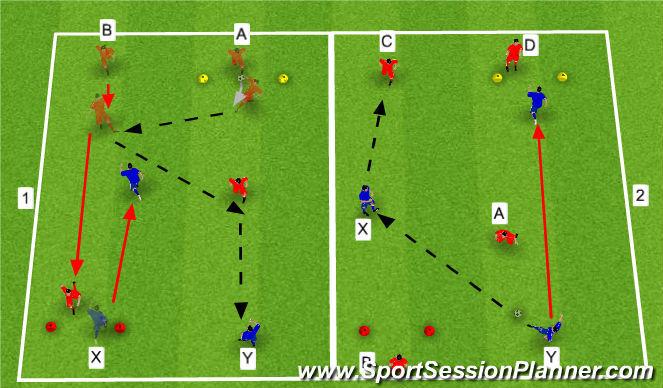 Football/Soccer Session Plan Drill (Colour): Warm Up 2v1 Transition