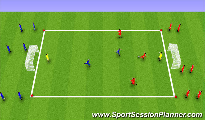 Football/Soccer Session Plan Drill (Colour): 3v2 Quick Transistion