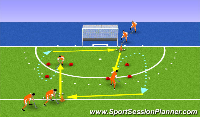 Hockey Session Plan Drill (Colour): turnaway backhand