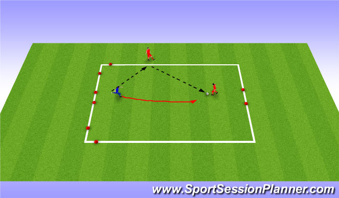 Football/Soccer Session Plan Drill (Colour): 1v1 (+1)