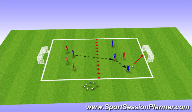 Football/Soccer Session Plan Drill (Colour): 3 v 1 overload