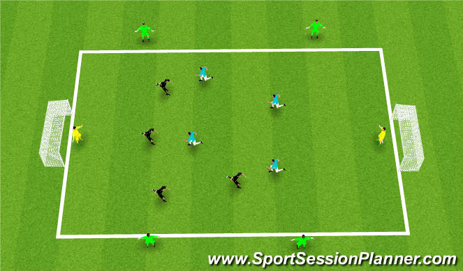 Football/Soccer Session Plan Drill (Colour): 5 v 5 scrimmage with 5 neutrals