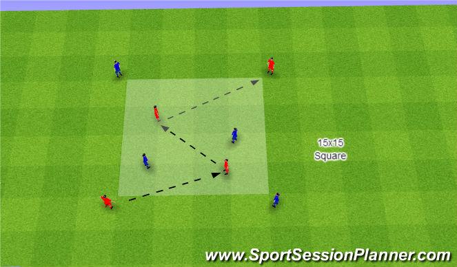 Football/Soccer Session Plan Drill (Colour): 2vs2+4