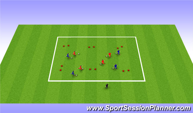 Football/Soccer Session Plan Drill (Colour): Warm up Dribbling