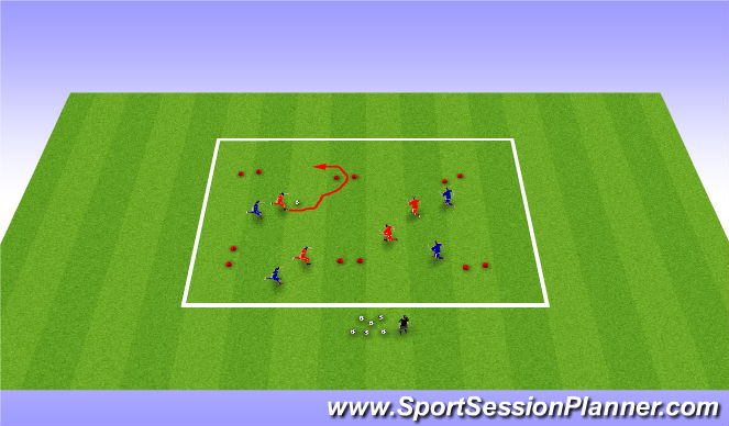 Football/Soccer Session Plan Drill (Colour): Dribble gate Goals