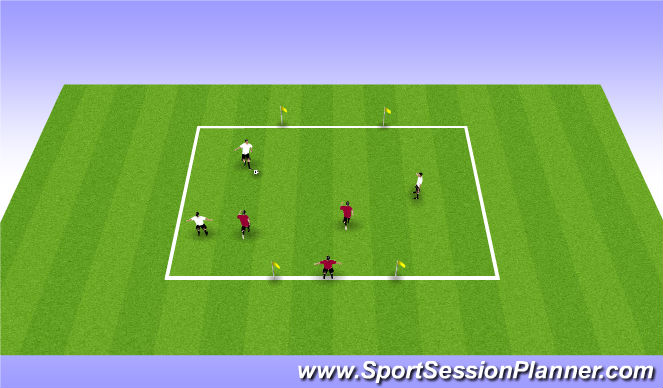 Football/Soccer Session Plan Drill (Colour): 3 v 2 + 1
