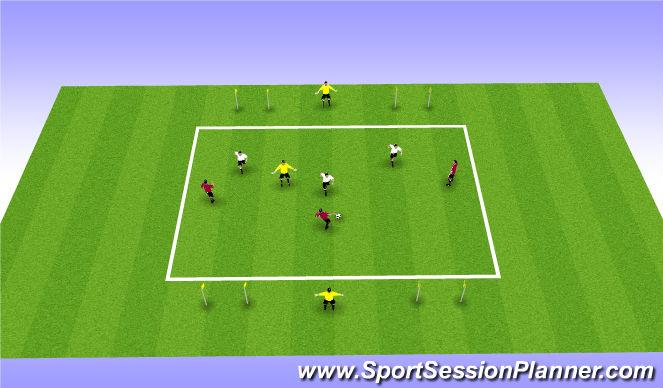 Football/Soccer Session Plan Drill (Colour): 3 v 3 + 3