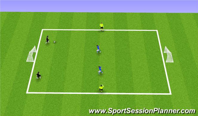 Football/Soccer Session Plan Drill (Colour): 2v2 + 2N (Optional)