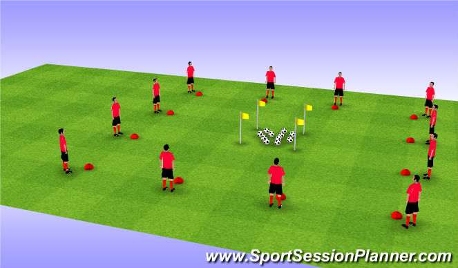 Football/Soccer Session Plan Drill (Colour): Active Warm-up with Dynamic Stretching