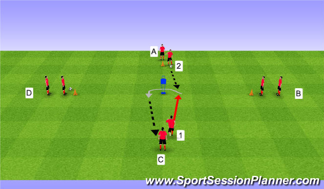 Football/Soccer Session Plan Drill (Colour): Progression One, First touch
