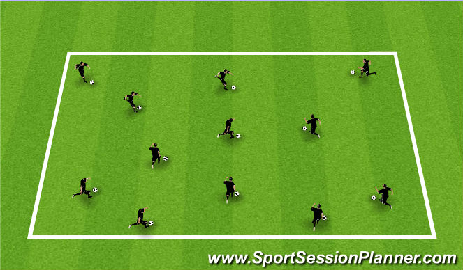 Football/Soccer Session Plan Drill (Colour): Ball Each Warm Up (Variations)
