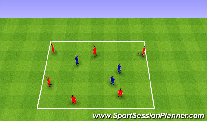 Football/Soccer Session Plan Drill (Colour): Rondo 6v3. Dziadek 6v3.