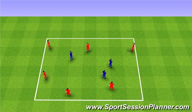 Football/Soccer Session Plan Drill (Colour): Rondo 6v3. Dziadek 6v3.
