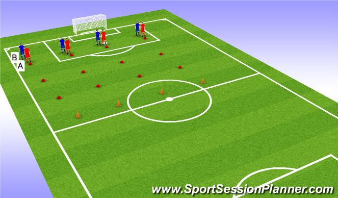 Football/Soccer Session Plan Drill (Colour): Blocked (5 Mins)