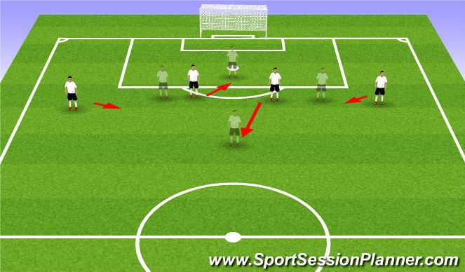Football/Soccer Session Plan Drill (Colour): Back 4 Shifting