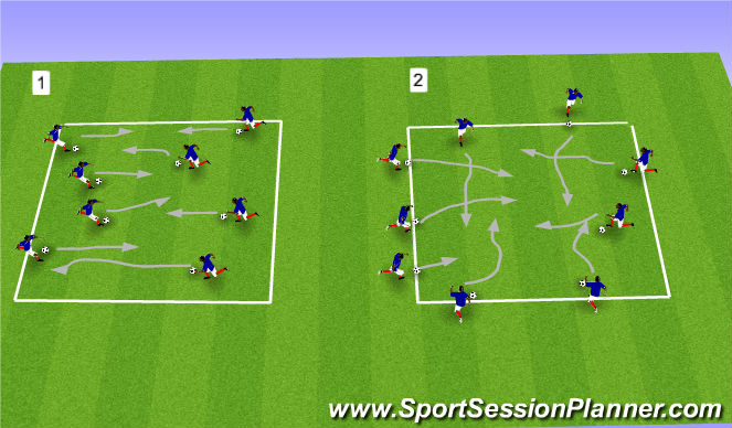 Football/Soccer Session Plan Drill (Colour): Cross Traffic