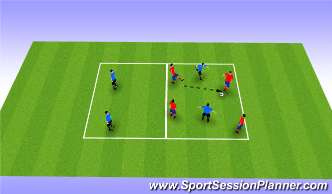 Football/Soccer Session Plan Drill (Colour): 4v4-2 Rondo