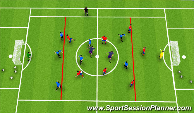 Football/Soccer Session Plan Drill (Colour): 8v8+2